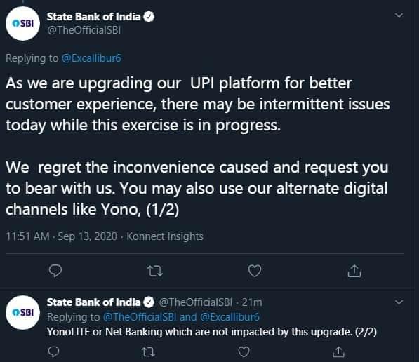 SBI UPI server down again since yesterday